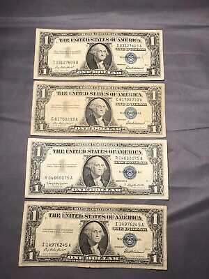 Lot of 4 1957 $1 One Dollar Silver Certificates Blue Seal