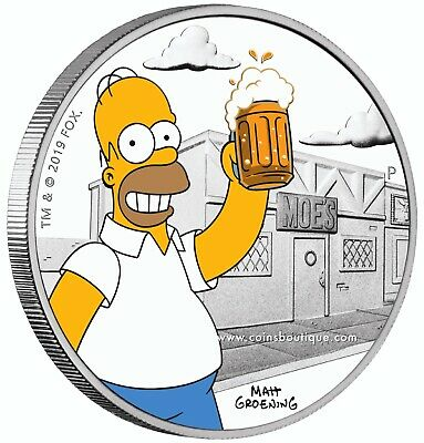 THE SIMPSONS-Homer Simpson 1oz Silver Coin Proof Tuvalu 2019  first day issue