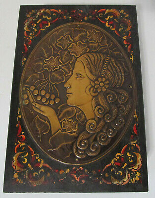 Vintage Art Nouveau Woman with Grapes Russian Hand Decorated Box Metal Plaque