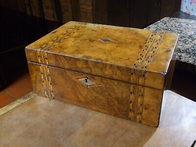 ANTIQUE VICTORIAN BURR ELM INLAID WRITING SLOPE with original inkwell