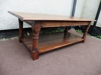 Solid Oak Long Coffee Table, Antique Style, Pegged Joints, Heavy Turned Legs.