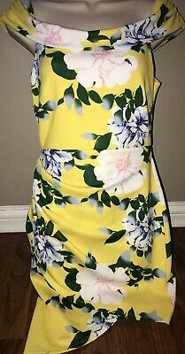 e24a70f7b5d Yellow Floral Print Off Shoulder Dress From Charlotte Russe Junior Sz Med!