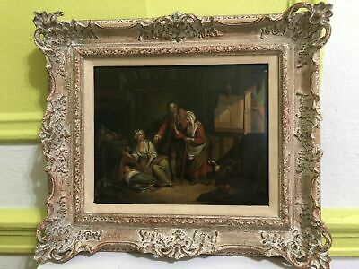 """Antique 19th Century oil painting on metal """"Continental Interior Scene"""" framed"""