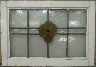 "MID SIZE OLD ENGLISH LEADED STAINED GLASS WINDOW Nice Floral Band 23.75"" x 16.5"""
