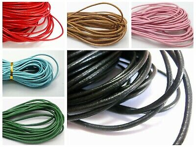 32.8 feets Round Real Genuine Leather Cord 3mm Jewelry String Colour Choice