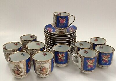 23 Pc Demitasse Cups & Saucers Royal Dresdener Art Blue Panels Schumann Bavaria