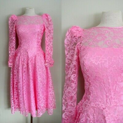 69fb43071087 Vintage 80s Prom Dress Pink Lace Puff Sleeve Satin Bow Alfred Angelo Party  Gown