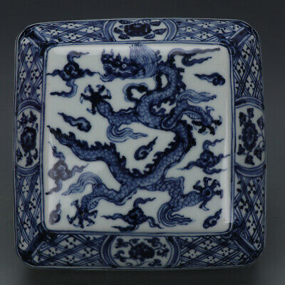 "4.5"" Ming Xuande mark Antique Porcelain handmade Blue white dragon Fruit box"