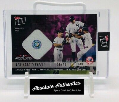 2018 Topps Now Yankees Wild Card Game Used Base Relic Card /25