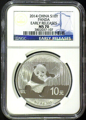 2014 China Silver 10 Yuan Panda Graded  Ngc Ms70 Early Releases