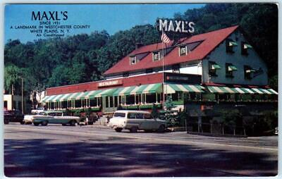 WHITE PLAINS, New York NY   Roadside MAXL'S Restaurant  1950s Cars Postcard
