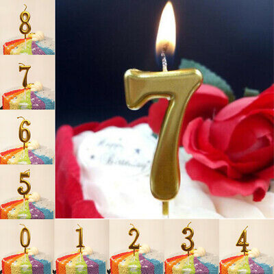 1x Number Happy Birthday Cake Candles Gold Topper Decoration Party Supplies Lots
