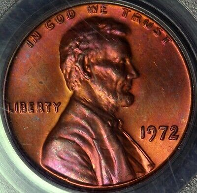 1972 1¢ PCGS MS65RB Doubled Die Obverse DDO Lincoln Cent OLD GREEN HOLDER