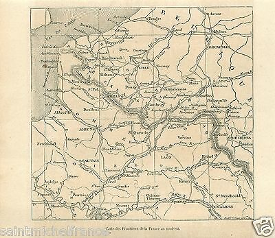 Map Carte Frontière Nord Est Picardie Champagne France GRAVURE OLD PRINT 1859