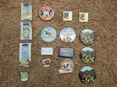 Lot of 16 Disneyland Cast Member Pins and Keychains