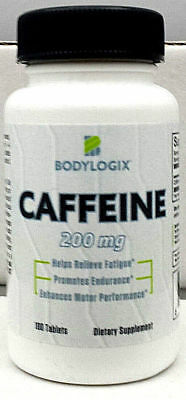 CAFFEINE TABLET PILLS-200mg TABLET-BODYLOGIX-100 TAB BOTTLE-FREE SHIP