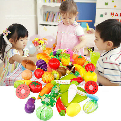 24pcs Kitchen Pretend Play Toy Fruit Vegetable Cutting Toy Simulation Food UK -