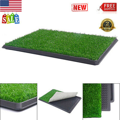 In/Outdoor Pet Puppy Training Grass Potty Dog Pee Pad Mat Toilet Trainer w/ Tray