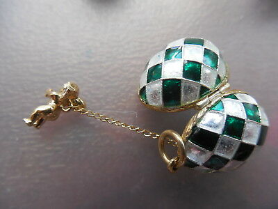 Sterling Silver Enamel Faberge Egg Style Pendant Angel inside White/green color