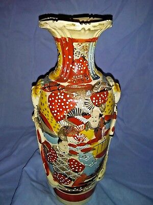 Antique Japanese Satsuma Figural Pottery Art Vase Meiji Period Signed 12""