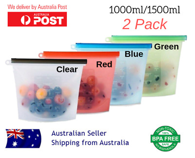 Reusable Silicone Food Preservation Storage Container Bag Zip Lock Airtight Seal