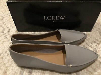 a04e89993e5 J Crew Factory Edie Leather Loafer Flat Size 7 NIB Gray Pewter Nice Soft  Leather