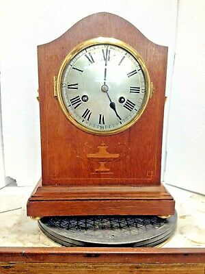 Antique English Mahogany Oak Bracket Clock