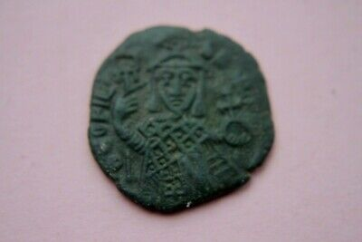 ANCIENT BYZANTINE THEOPHILUS BRONZE FOLLIS COIN 9th CENTURY