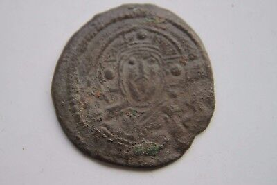 ANCIENT BYZANTINE BRONZE  FOLLIS COIN of CHRIST 11/12th CENTURY AD GOD