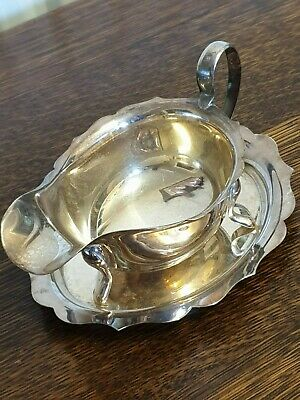 antique silver plate SAUCE GRAVEY BOAT ON TRAY