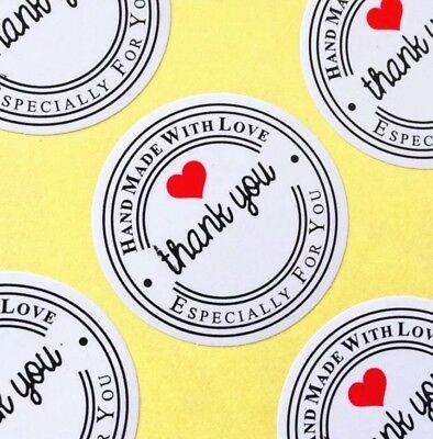 Hand Made with Love Sticker Label White Red Heart Wedding Favours Thank You