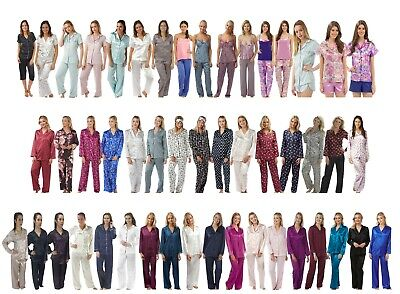 Ladies Satin Silky Soft PJs Pyjamas Pajamas Jammies Set Sizes 8 to 34!
