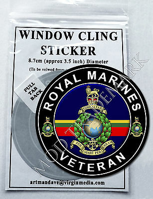 ROYAL MARINES - VETERAN, WINDOW CLING STICKER  8.7cm Diameter