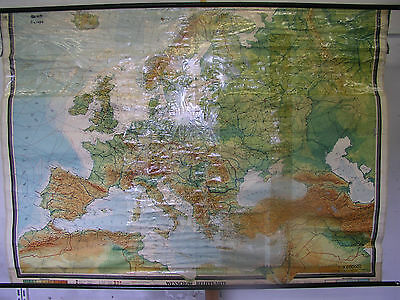 Schulwandkarte Map Europa Europe Abendland 1950s or 1960s 206x147cm Wall Map