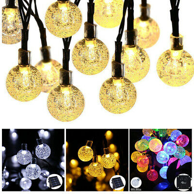20 30 50 LED Solar Power Fairy Lights Crystal Ball Garden Tree Party Xmas Decor