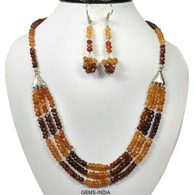 392.75 Cts Natural Untreated Hessonite Garnet 5mm Round Cut Beaded Jewelry Set