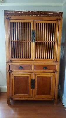 Vintage Chinese Wooden Cage Cabinet