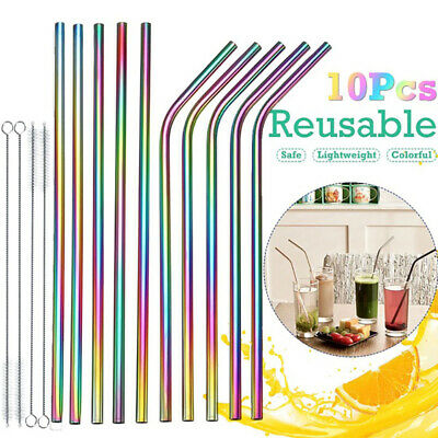 Multicolor Stainless Steel Metal Drinking Straw Party Bar Curved/Straight+Brush