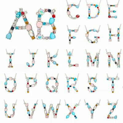 26 Initial Letter A-Z Large Alphabet Pendant Colorful Crystal Womens Necklace