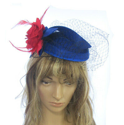Royal Blue with red rose fascinator Hatinator, Races, Ascot Ladies day, headpiec