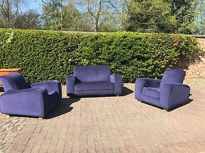 Vintage Retro Art Deco Club Chair and Two seater sofa