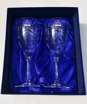 Royal Doulton Finest Crystal Wine Glasses Jasmine New with labels Unused boxed