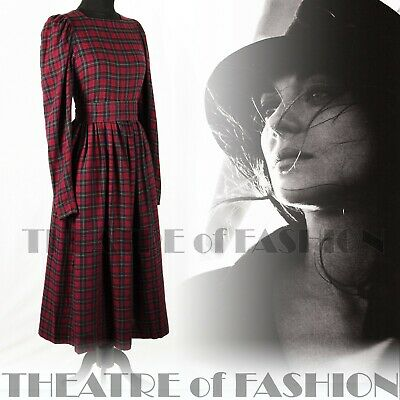 DRESS PINAFORE TARTAN VINTAGE LAURA ASHLEY VICTORIAN EDWARDIAN 40s 50s VAMP