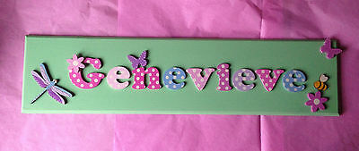 X-LARGE CHILDRENS WOODEN NAME PLAQUE  personalised door/wall sign 12 LETTERS