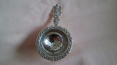 Vintage Rare Art Deco  Small Silver Plated Dutch Tea Strainer In Good Used Cond