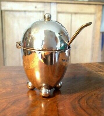 Antique Silver Sauce Pot Salt Round Lidded with spoon Sheffield 1886