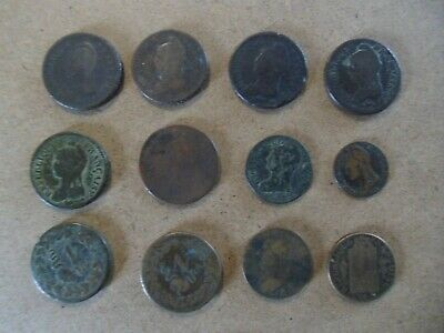 Lot De 12 Monnaies A Identifier Bronze France