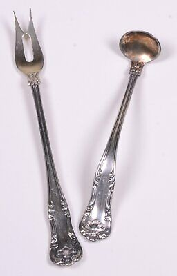 Set of Antique Silverplate Electro Plate 1902 GORHAM Mustard Ladle & Pickle Fork