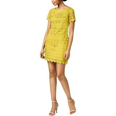 13253d134bb2 Jessica Howard Womens Yellow Lace Overlay Day to Night Casual Dress 14 BHFO  1015