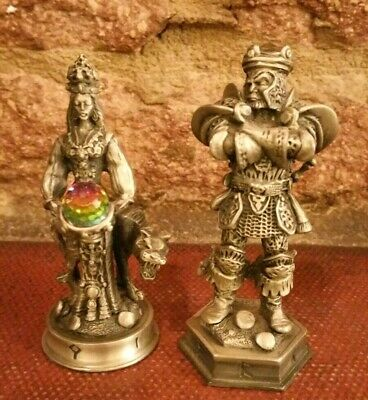 Fantasy Of The Crystal Vistar The Terrible & Rani The Fair Pewter Chess Pieces
